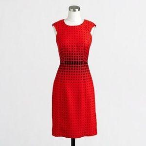 JCREW Red and Black Polka Dot Dress